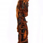 "SCOT THOMPSON, Centurion and Elder, 2007, Cast Iron, Cherry Wood, Steel, Bonded Sand, 79"" x 16"" x 16"""
